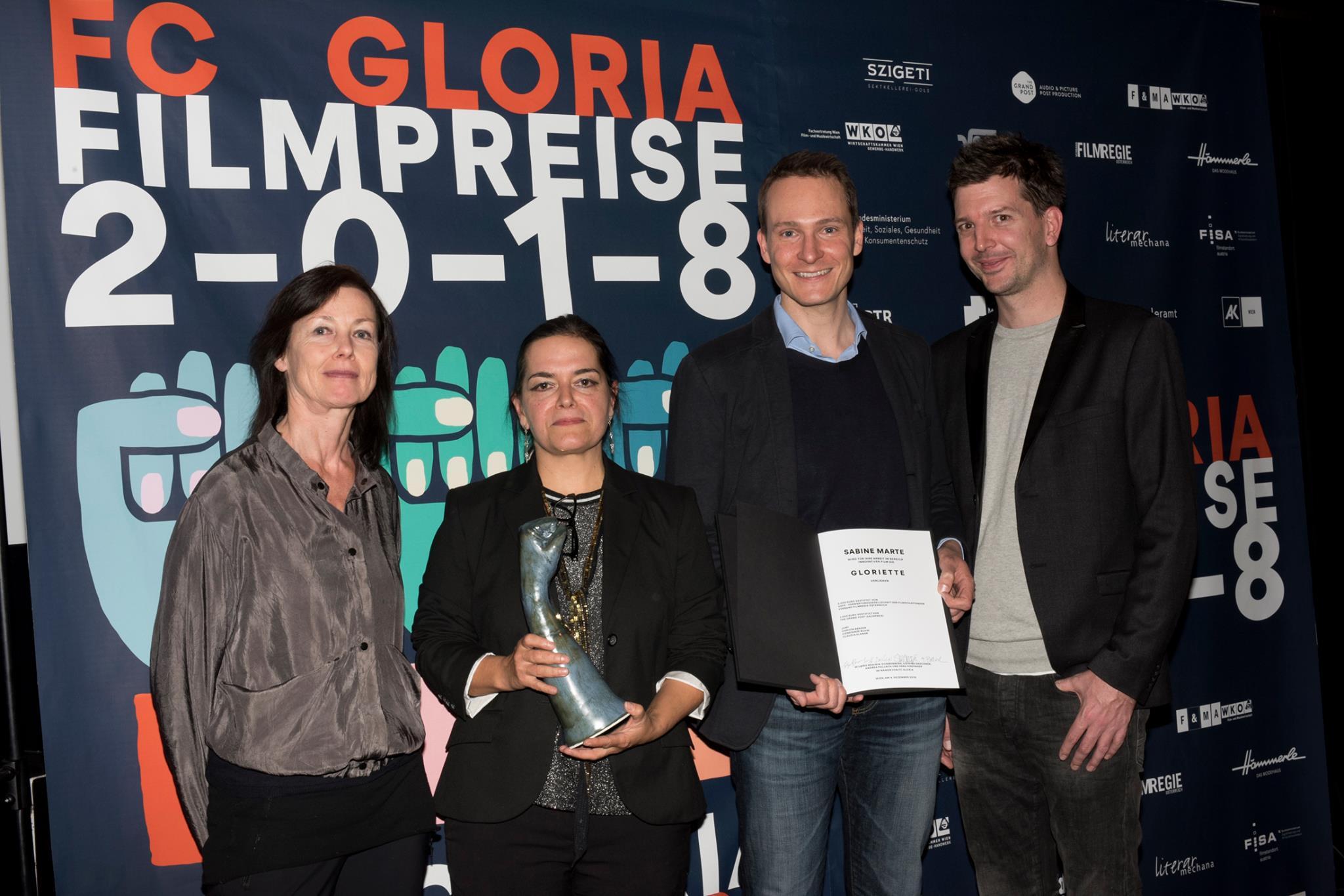 Barbara Fränzen (BKA Film), Preisträgerin Sabine Marten und Marco Zinz und Alexander Fischbacher (The Grand Post)